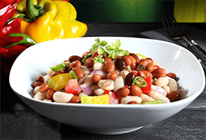 Three Bean Salad with roasted chicken & Italian dressing