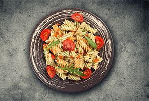 Fusilli with Shrimp, Arugula and Feta